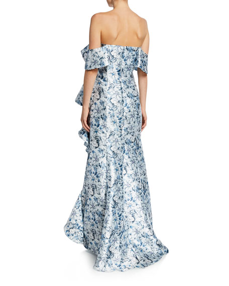 85a1f4cb Badgley Mischka Collection Floral Off-the-Shoulder Short-Sleeve ...
