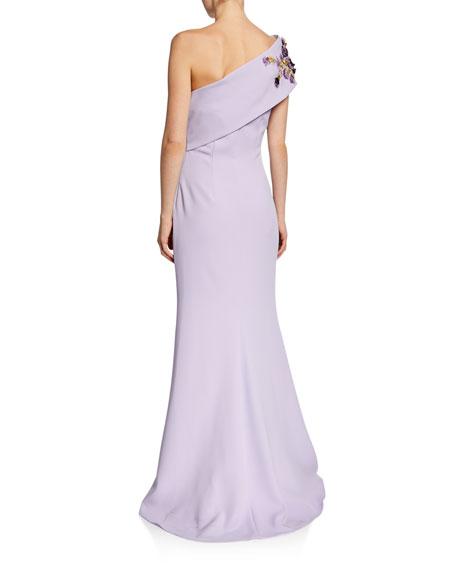 69f8793449 Badgley Mischka Collection One-Shoulder Gown w  Embellished Flower ...