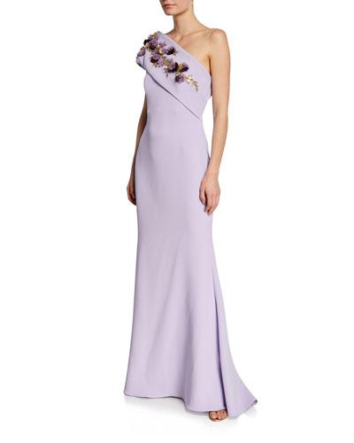 One-Shoulder Gown w/ Embellished Flower Sash Detail
