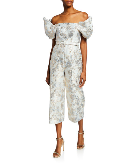 Badgley Mischka Suits METALLIC JACQUARD OFF-THE-SHOULDER PUFF-SLEEVE CROP JUMPSUIT