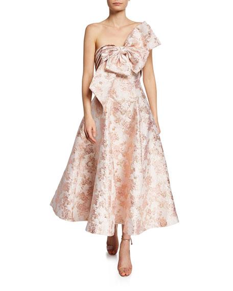 Badgley Mischka Dresses BALLERINA BOW STRAPLESS JACQUARD COCKTAIL DRESS
