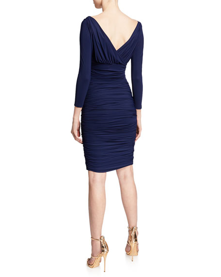 V-Neck 3/4-Sleeve Ruched Cocktail Dress