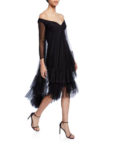 3/4-Sleeve Mesh Sleeve Dress