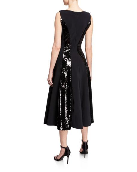 Sequin-Stripe V-Neck Sleeveless Cocktail Dress