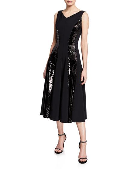 La Petite Robe Sequin-Stripe V-Neck Sleeveless Cocktail Dress