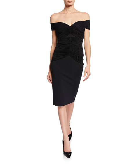 2361710b4d6 Chiara Boni La Petite Robe Off-the-Shoulder Short-Sleeve Ruched Cocktail  Dress