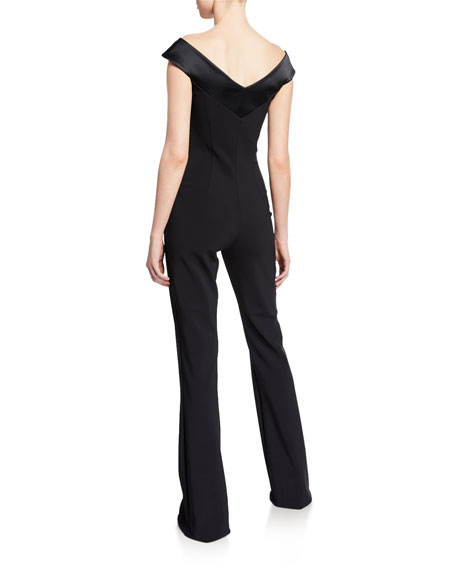 Off-the-Shoulder Cap-Sleeve Jumpsuit with Satin Neckline
