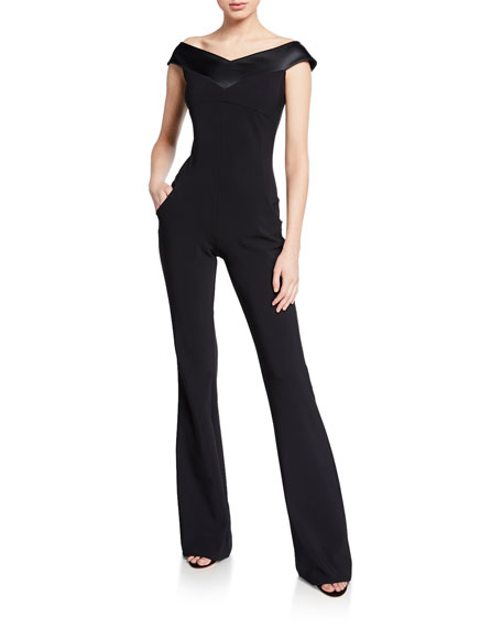 dff55d5e78 La Petite Robe Off-the-Shoulder Cap-Sleeve Jumpsuit with Satin