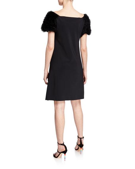 9f4da005c8e La Petite Robe Boat-Neck Ruffle-Sleeve Short Dress In Black