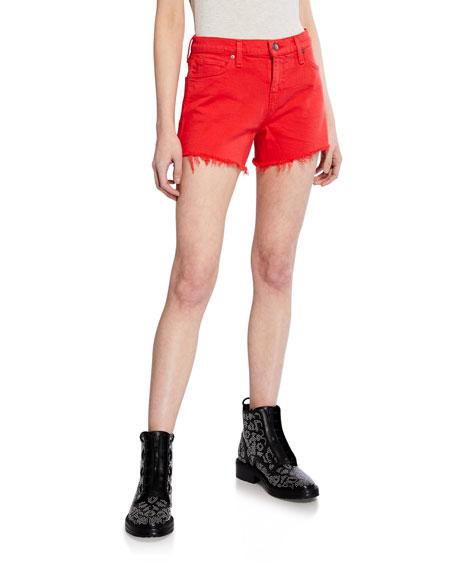Hudson Shorts Gemma Mid-Rise Cutoff Shorts, CHERRY