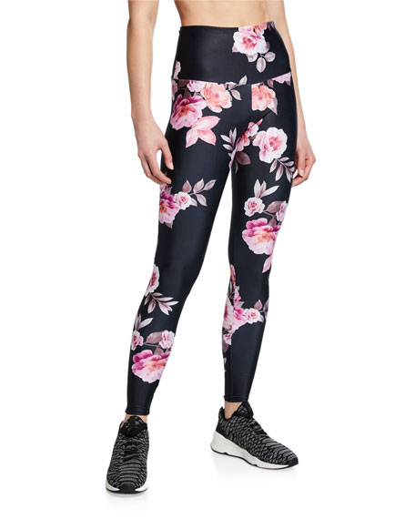 Onzie High-Rise Rose-Print Active Leggings
