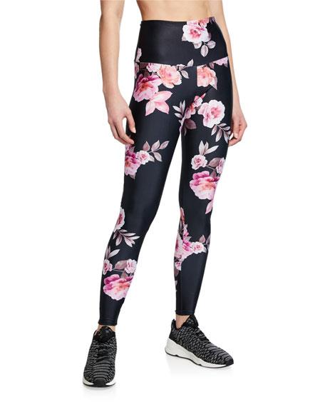 Onzie Pants HIGH-RISE ROSE-PRINT ACTIVE LEGGINGS