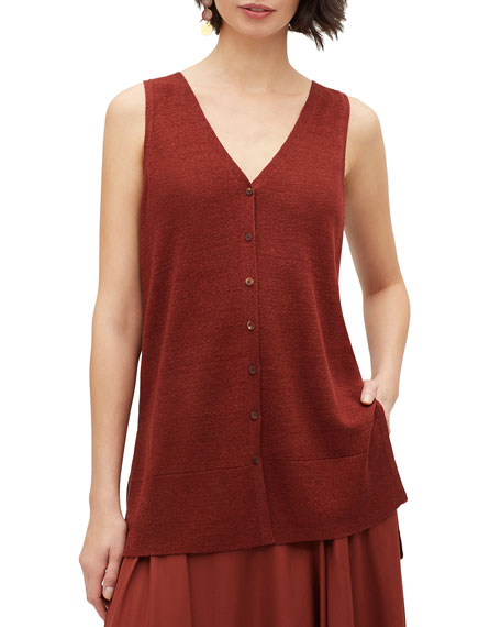Lafayette 148 New York Button-Front Relaxed Sweater Vest