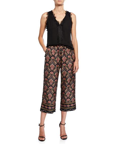 Heddie Paisley Cropped Silk Pants