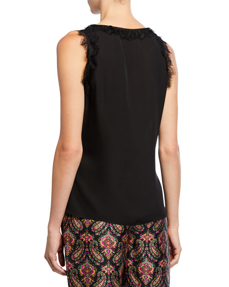 Evelyn V-Neck Sleeveless Silk Blouse with Lace