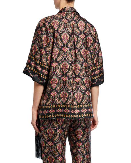 Jaycee Paisley Silk Shirt Jacket with Fringe Trim