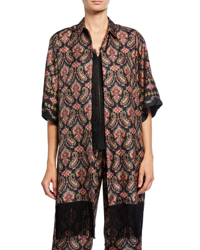 Jaycee Paisley Silk Shirt Jacket with Fringe Trim
