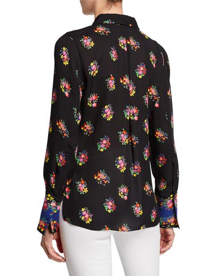 Bailey Floral Button-Down Silk Blouse