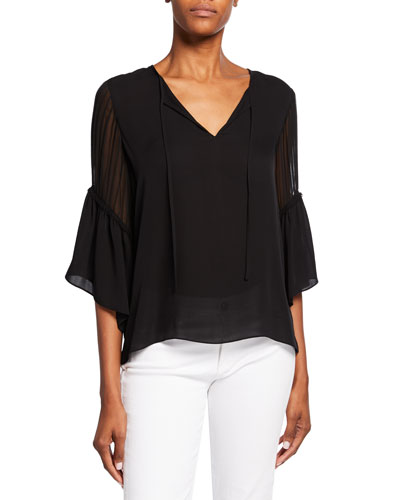 Alicia Split-Neck Ruffle-Sleeve Silk Blouse
