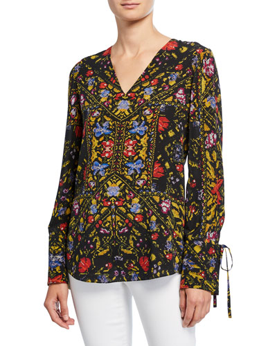 Liana Printed V-Neck Long-Sleeve Blouse