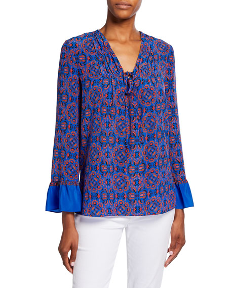 Zoey Printed V-Neck Tie-Front Long-Sleeve Silk Blouse