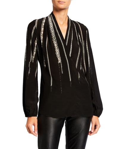 Wendi Blouson-Sleeve Silk Blouse