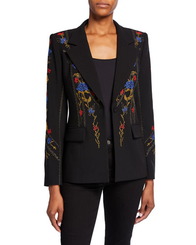 Carolyn One-Button Crepe Jacket