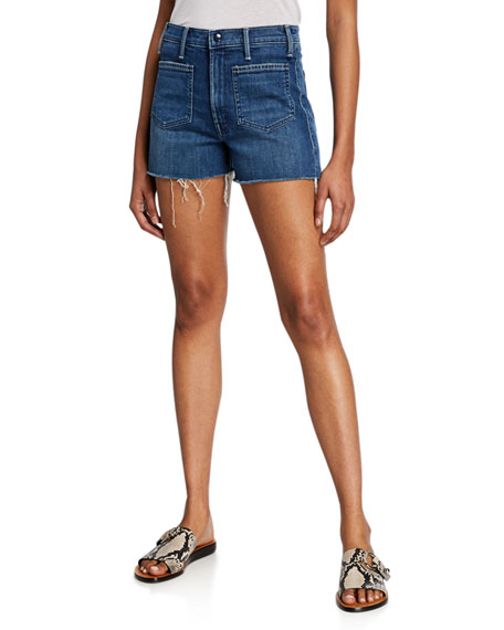 Mother Shorts THE TOMCAT PATCH POCKET FRAYED SHORTS