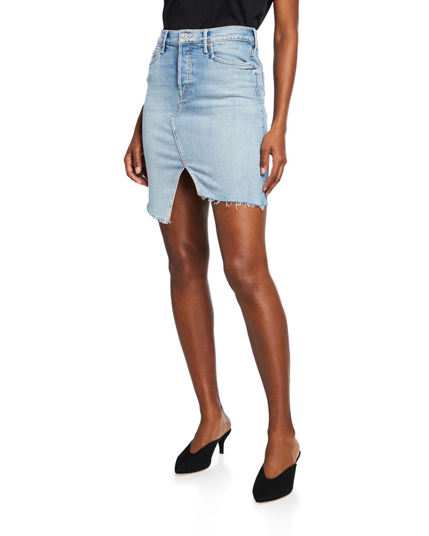 The Tomcat Slide Mini High Waist Frayed Denim Skirt by Mother