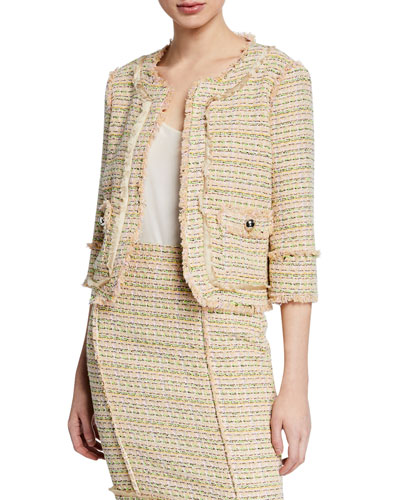 Isidora 3/4-Sleeve Boucle Jacket