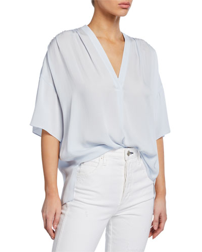 Shirred V-Neck Short-Sleeve Blouse