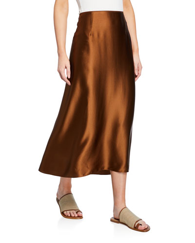 Midi Satin Slip Skirt