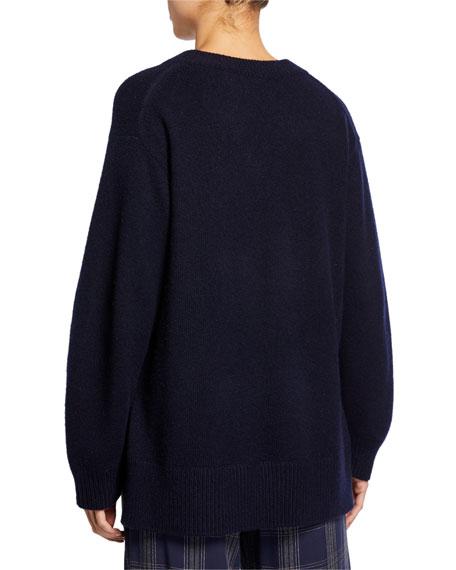 V-Neck Long-Sleeve Cashmere Tunic