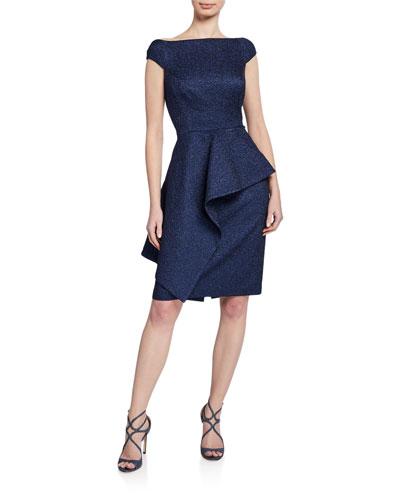 50a084119ad Metallic Jacquard Off-Shoulder Cap-Sleeve Asymmetric Peplum Dress Quick  Look. Rickie Freeman for Teri Jon