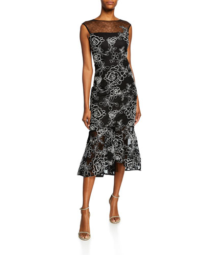 251a1fcd568 Sleeveless Floral-Embroidered Lace Sheath Dress w  Flounce Hem