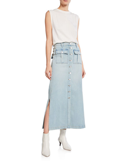 Current/Elliott The Surfview Denim Maxi Skirt