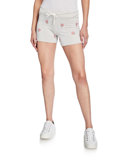 Vintage Drawstring Shorts with Rose Embroidery