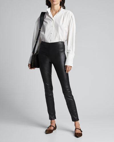 Bristol Lambskin Leather Skinny-Leg Ankle Leggings