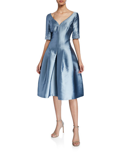 09d2894508 V-Neck Short-Sleeve Gazar Fit- -Flare Dress w  Crystal Quick Look. Rickie  Freeman for Teri Jon