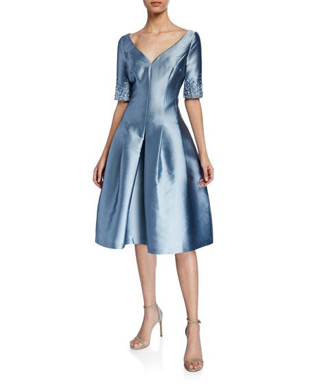 Rickie Freeman For Teri Jon Dresses V-NECK SHORT-SLEEVE GAZAR FIT-&-FLARE DRESS W/ CRYSTAL TRIM