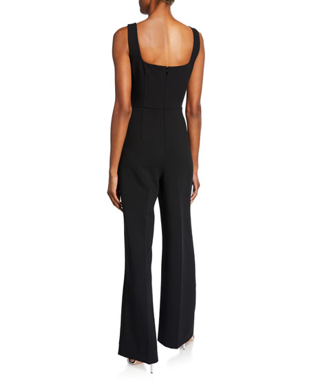Helena Square-Neck Sleeveless Crepe Jumpsuit
