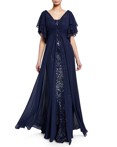 525e8b6cb799 Beaded Lace Gazar Flutter-Sleeve Gown w/ Asymmetric Chiffon Overlay