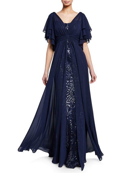 Rickie Freeman For Teri Jon Tops BEADED LACE GAZAR FLUTTER-SLEEVE GOWN W/ ASYMMETRIC CHIFFON OVERLAY