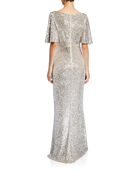 Sequin V-Neck Flutter-Sleeve Column Gown