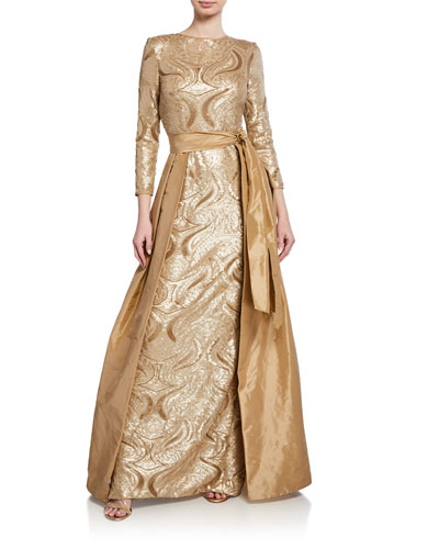 f915fa96131 Long-Sleeve Sequin Gown w  Taffeta Overlay