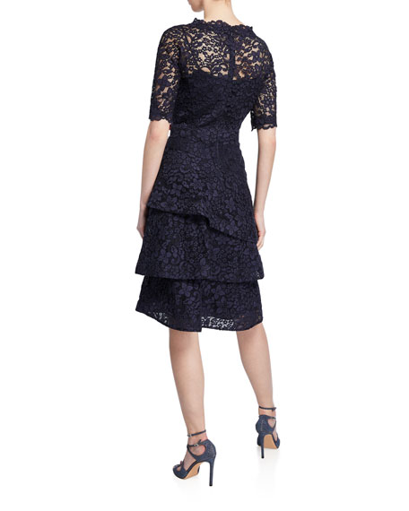 738004ca Rickie Freeman for Teri Jon Elbow-Sleeve Tiered Lace Dress