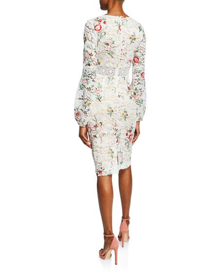 Floral-Print Long-Sleeve Boho Lace Cocktail Dress