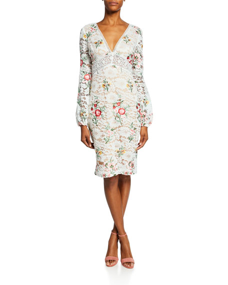 Badgley Mischka Collection Floral-Print Long-Sleeve Boho Lace