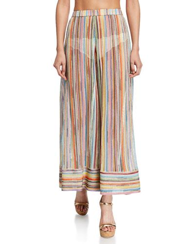 Sheer Stripe Wide-Leg Coverup Pants