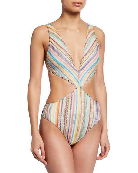 Missoni Knits PLUNGING KNIT CUTOUT ONE-PIECE SWIMSUIT